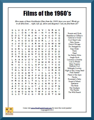 Films of the 1960's Word Search | Word Puzzle Hound