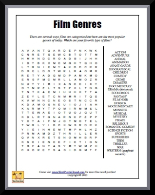 film genres word search word puzzle hound