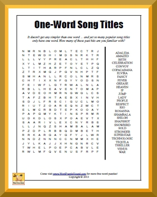 One-Word Song Titles Word Search | Word Puzzle Hound