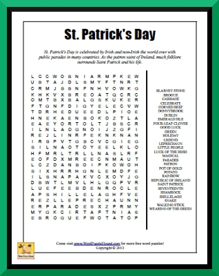 Canny image in st patrick's day crossword puzzle printable