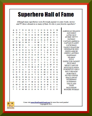 Superhero Hall of Fame Word Search | Word Puzzle Hound