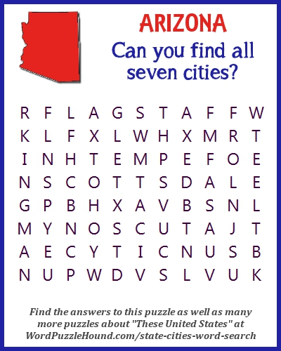 State of arizona cities word search word puzzle hound