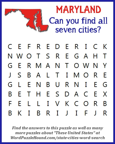 State of Maryland Cities Word Search | Word Puzzle Hound