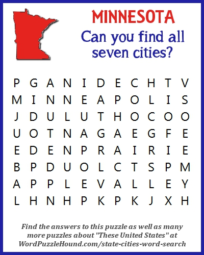 State of Minnesota Cities Word Search | Word Puzzle Hound