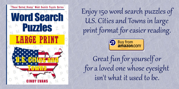 Large Print U.S. Cities and Towns Word Search Puzzles