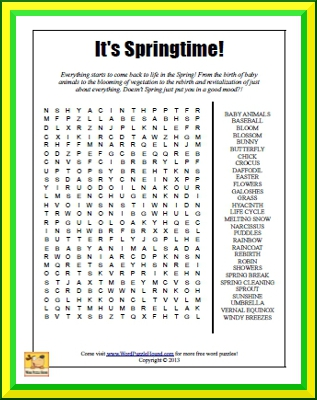 It's Springtime Word Search - Word Puzzle Hound